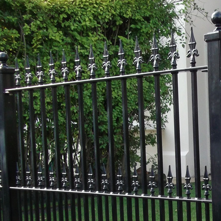 Medium gauge wrought iron garden railings with TF25 finials
