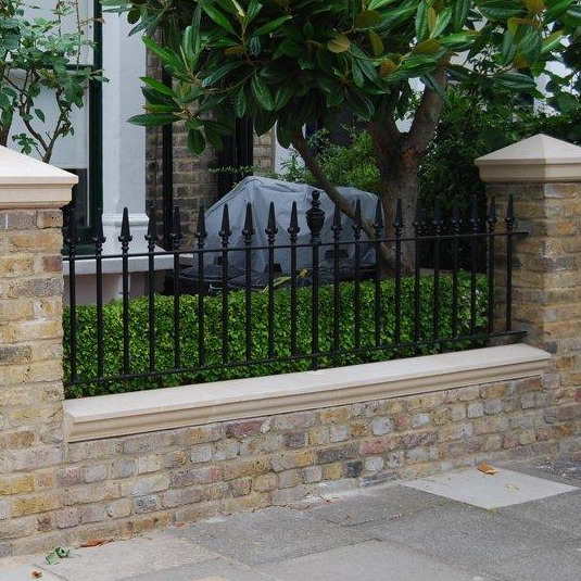 Wrought iron railings and gate with MN162 finials